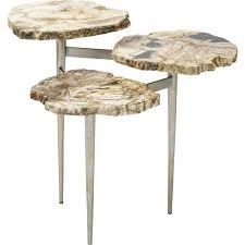 petrified wood end table petrified wood tier table palecek