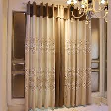 Linen Curtains With Grommets Brown Floral Jacquard And Embroidery Poly Cotton Blend Grommet