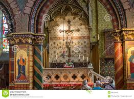 interiors of basilica of the holy blood bruges belgium stock