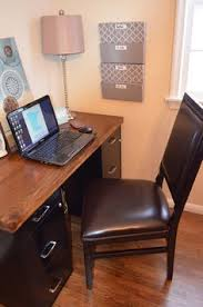 Diy Desk With File Cabinets A Diy Desk Refinished Wood Top Wit Found Filing Cabinets I Like