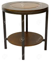Wood And Metal End Table Round Wood And Metal Contemporary End Table Stock Photo Picture