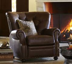 Leather Reclining Chairs Lansing Leather Armchair Pottery Barn