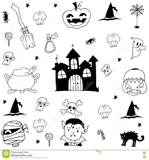 doodle halloween castle and ornament stock vector image 73356865