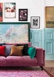 Ikea Nockeby Hack Boho Vibes Pink Velvet Sofa With Velvet Cushions Blue Wall