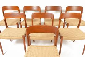 Set Of Teak Dining Table Set Of Eight Niels Moller Model 75 Teak Dining Chairs At 1stdibs