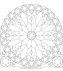 rose mandala picture to color stained glass window mandala