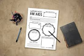 worship notes for kids pdf printable instant download