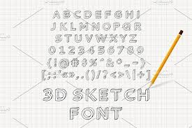 hand drawn 3d sketch font serif fonts creative market