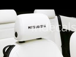 mitsubishi sticker 6 x mitsubishi stickers for headrests black indecals com