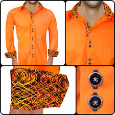 bright orange with black accent dress shirts