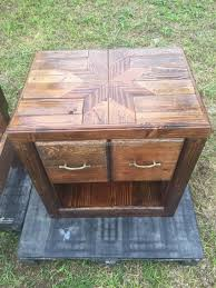 Pallet Furniture Side Table Queen Size Pallet Bed With End Tables Wood Pallet Furniture
