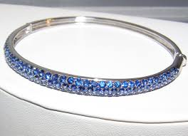 cornflower blue opal ceylon cornflower blue sapphire pave bangle bracelet 18kwg 7 00