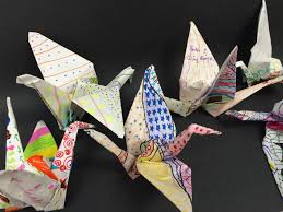 Decorated Paper The Helpful Art Teacher Origami Paper Crane On Decorated Paper