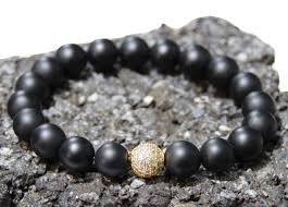black bracelet onyx images Lance gold quot 10mm matte black onyx gold pave cz mens beaded jpg