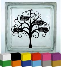 family tree with personalised names vinyl glass block photo frame