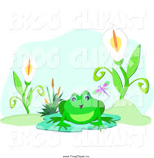 clip art of a frog on a lily pad by flowers on a pond by bpearth