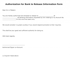 General Power Of Attorney Sample Letter by Free Authorization For Bank To Release Information Form Pdf