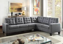 Grey Linen Sofa by Earsom Gray Linen Tufted Cushions Sofa Sectional