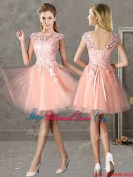 Light Pink Short Bridesmaid Dresses Style Bateau Peach Short Bridesmaid Dress With Lace