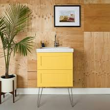 semihandmade oak shaker ikea godmorgon bath cabinet hairpin legs