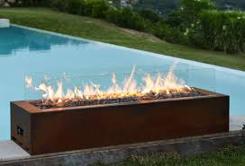 linear outdoor fire pit galio corten planika