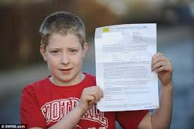 fit and active 11 year boy was sent home with letter branding