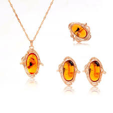 amber stone necklace images 2018 trendy rose gold plated women amber jewelry set pendant jpg