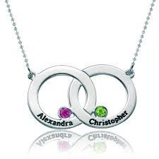 custom necklaces for couples 925 sterling silver dangle birthstones interlocking circle