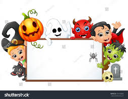 happy halloween character holding blank sign stock vector