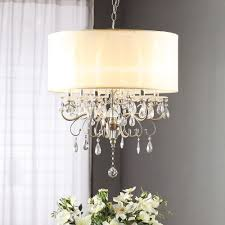 Oly Studio Lighting Silver Mist Hanging Crystal Drum Shade Chandelier And