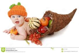 fall thanksgiving baby in a cornucopia from 50