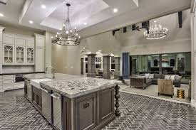 transitional home design gourmet kitchen steps down into the