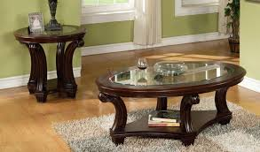 Glass Top Coffee Tables And End Tables Black Oval Traditional Wooden Legs And Glass Top Coffee And End