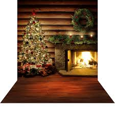 christmas photo backdrops hearth log cabin with christmas tree photo backdrops and