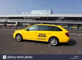 prague car taxi cab car on vaclav havel airport ruzyne prague czech