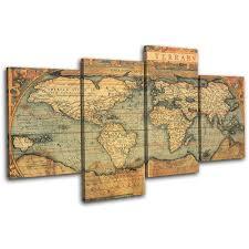 Large Framed World Map by Bold Bloc Design Old World Atlas Maps 90x60cm Large Xl Canvas Art