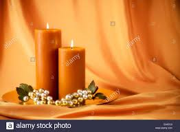 candle setting for thanksgiving dinner or autumn theme soft stock