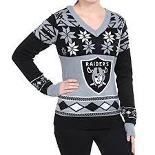raiders christmas sweater with lights amazon com nfl women s v neck sweater oakland raiders medium