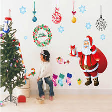 free shipping merry wall sticker diy santa claus