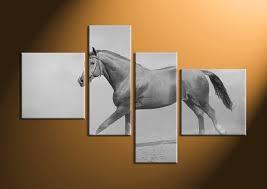 4 piece canvas black and white horse wildlife art