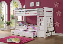 Bunk Beds With Trundle Acme 37370 Allentown White Storage Ladder Twin Twin Trundle Bunk Bed