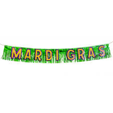 mardi gras banner metallic mardi gras fringe banner 10 x 6 54162