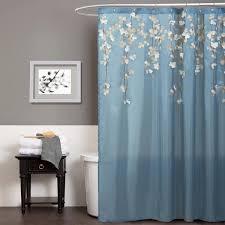 Amazon Com Shower Curtains - lush decor flower drops federal blue white shower curtain