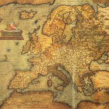 reproduction of 16th century map of europe engraved and colored