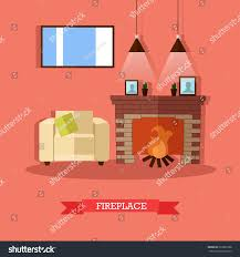 vector illustration fireplace house home interior stock vector
