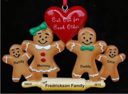 gingerbread family of 4 baby ornament personalized baby ornaments