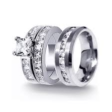 wedding rings his and hers matching sets his hers 3pcs stainless steel men s matching band sterling
