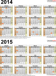 2014 2015 calendar free printable two year pdf calendars