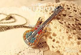 guitar necklace pendants images Wholesale trendy multicolor guitar pendant necklace retro bohemian jpg