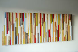 wood wall 3d wood sculpture 24 x 64 painted wood pieces